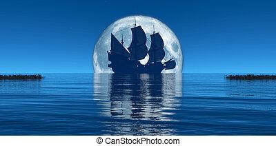 nawigacja, księżyc, statek