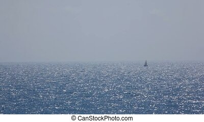 nawigacja, ruchomy, odbicia, morze, mały, błyszczący, łódka