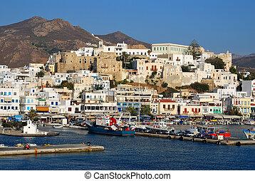 Naxos harbor, Greece - Port on the island of Naxos. Greece
