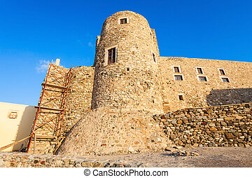 Naxos old town, Greece - Naxos Kastro old town tower walls,...