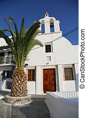 Naxos - A white church in Chora at the Naxos island at the...