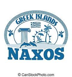 Naxos stamp - Greek Islands, Naxos, stamp or label on white...