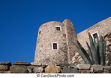Naxos - An old building in Chora at the Naxos island at the...