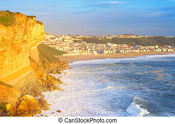 Nazare ocean town sunset Portugal