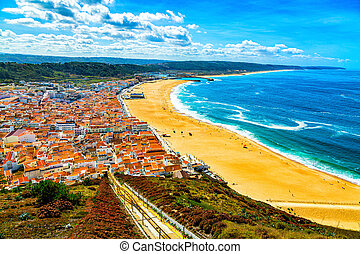 Nazare, Portugal: Panorama of the Nazare town and Atlantic Ocean seen from viewpoint on Nazare Sitio hill