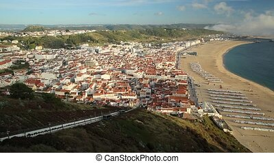 Nazare Portugal Skyline - Aerial view slow motion of moving...