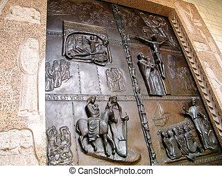 Door of Basilica of the Annunciation in Nazareth, Israel