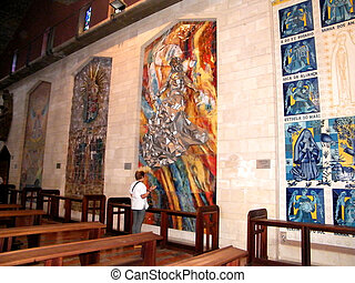 Interior of Basilica of the Annunciation in Nazareth, Israel