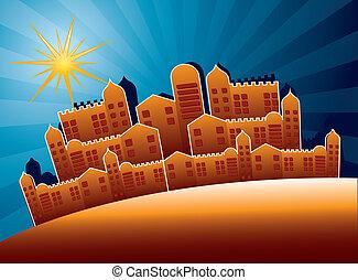 nazareth buildings over night background. vector illustration