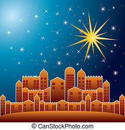 nazareth city over nigth background. vector illustration