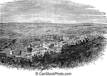 Nazareth in North District, Israel, vintage engraved...