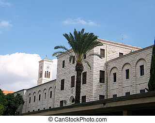 Terra Sancta School and Tower of Church of Joseph`s in Nazareth, Israel