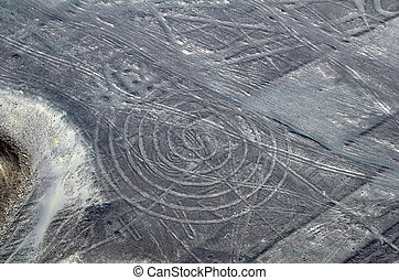 Nazca Lines - Spiral - Aerial View from a Plane