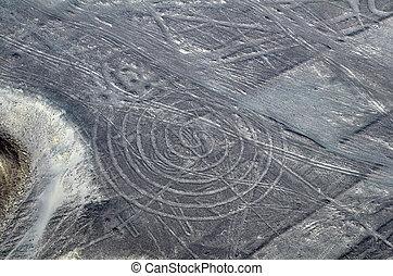 nazca, linien, -, spirale, -, luftblick