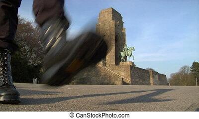 nazi boots walk emperor monument - Nazi Metaphor. Combat...