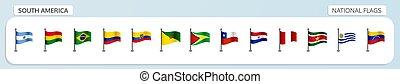 nazionale, america, bandiere, sud