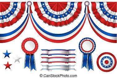 nazionale, americano, symbolics, -, bandiera, e, premi