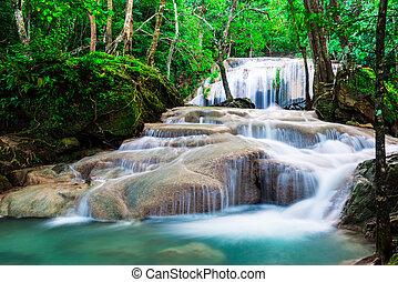 nazionale, cascata, parco, erawan, giungla