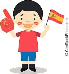 nazionale, illustrazione, bandiera, vettore, ventilatore, guanto, sport squadra, spagna