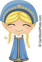 nazionale, illustrazione, costume, russo, ragazza, capretto