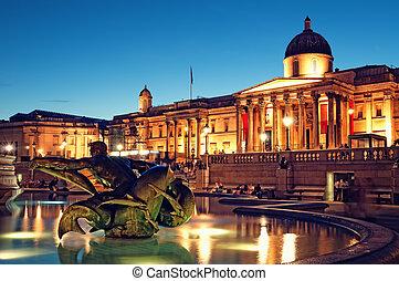 nazionale, london., quadrato, galleria, trafalgar
