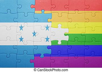 nazionale, puzzle, bandiera honduras, gaio