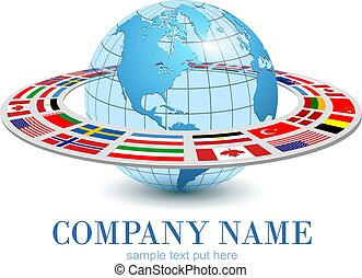 nazionale, terra, 3d, pianeta, dinamico, orbita, globo, logotipo, bandiere