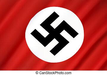 nazista, bandeira, -, terceiro reich, e, segunda guerra...