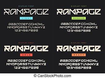nazvaný, rampage., moderní, lehký, vektor, pořádný, kropenka, vystavit, drzý