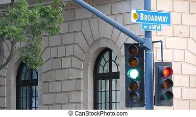 nazwa, droga, skrzyżowanie dróg, broadway, ulica, miejski, ...