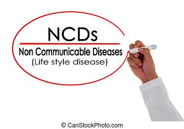 ncds, 手文字, 非, communicable, 疾病, message.