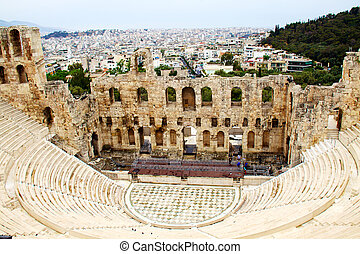 ncient theatre of Herodes Atticus is a small building of ...