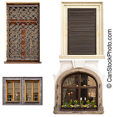 ncient window - ancient window, the windows on a white...