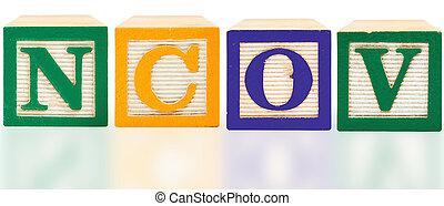 NCOV spelled in Bold Color Alphabet Blocks
