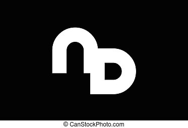 Dn D N White Letter Logo Design With Black Background Dn D N White