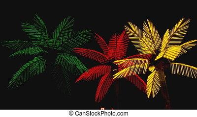 neón, árboles de palma