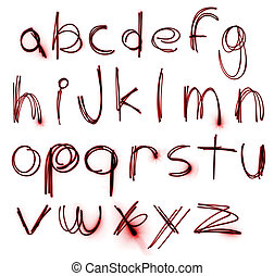 neón, alfabeto, conjunto