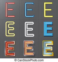 neón, estilo, conjunto, e, alfabeto
