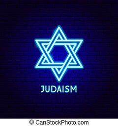 neón, etiqueta, judaísmo