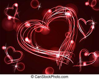 neón, plasma, o, corazones