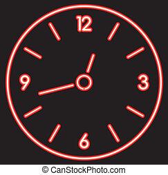 neón, reloj