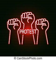 neón, tarjetas, proletarian, mano, t-shirts., saludo,...