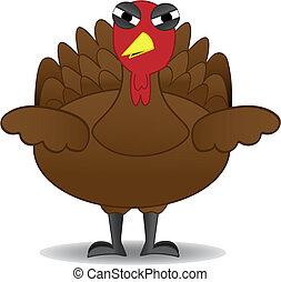 nešťastný, díkuvzdání turecko, ptáček, stojí, sám