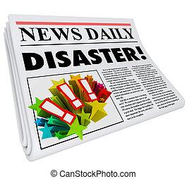 neštěstí, titulek, bdělý, noviny, mrzutost, krize