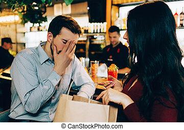 ne fait pas, quel, sien, happy., image, elle, figure, main., couverture, mais, triste, conversation, comprendre, regarde, petite amie, il, about., hie, homme