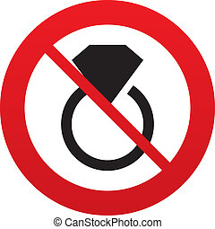 ne, klenoty, firma, icon., kroužek, s, diamant, symbol.