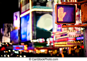 ne marchez pas, trafic, york, nouveau, signe