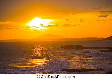 ne, mui, coucher soleil, mer, asie