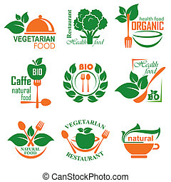 nealthy food label - set vector labels and emblems of health...
