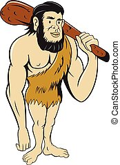 neanderthal, club, caveman, presa a terra, cartone animato, uomo
